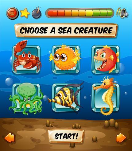 Modèle de jeu avec des animaux marins