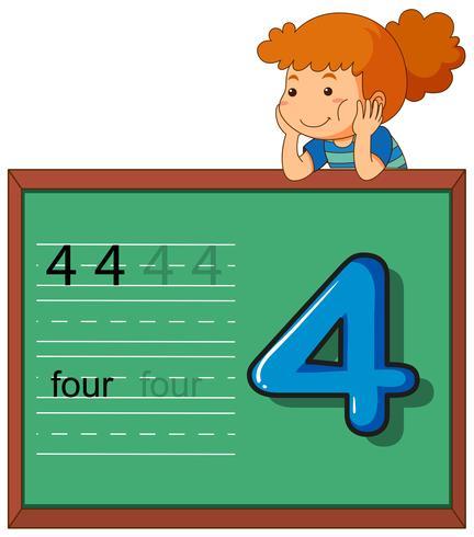 Menina, mostrando, numere quatro, ligado, chalkboard
