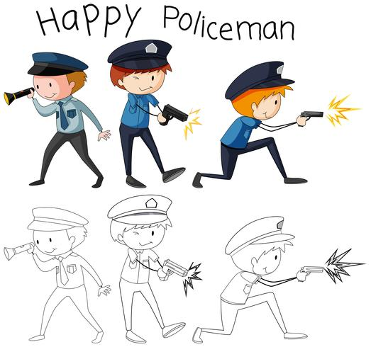 Doodle bom policial personagem