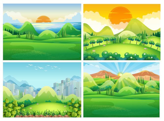 Quatro cenas da natureza durante o dia