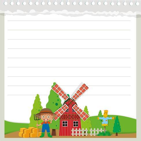 Line pappersdesign med gård tema