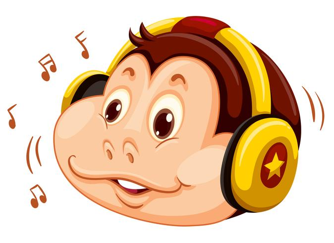 Monkey head listen to music