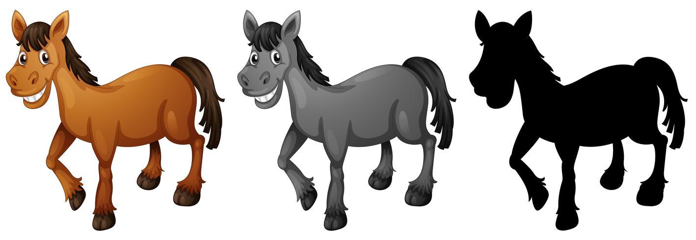 Conjunto de cavalo sorrindo