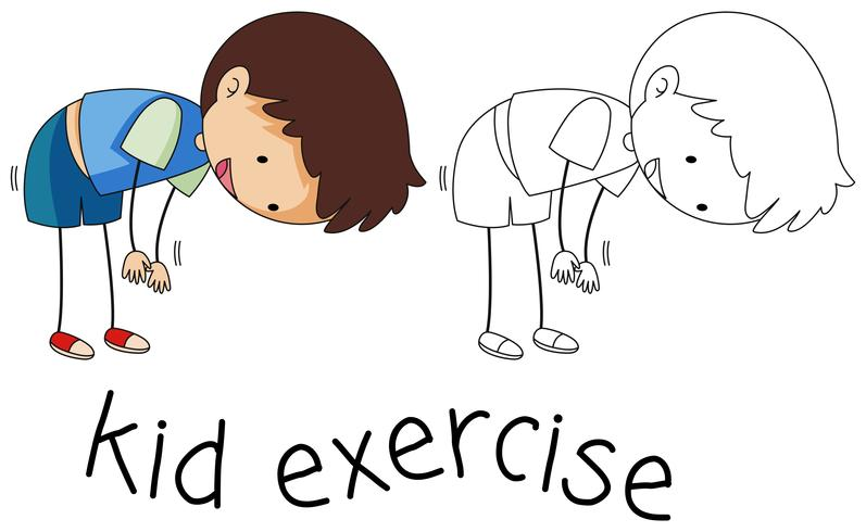 Doodle boy exercise character