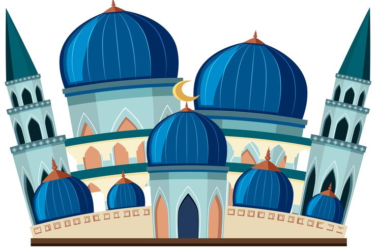 A beautiful blue mosque on white background