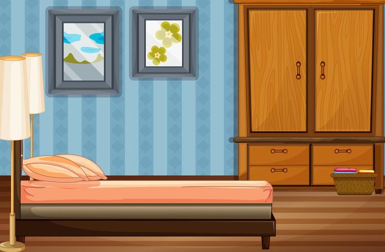 Escena dormitorio con cama y armario de madera.