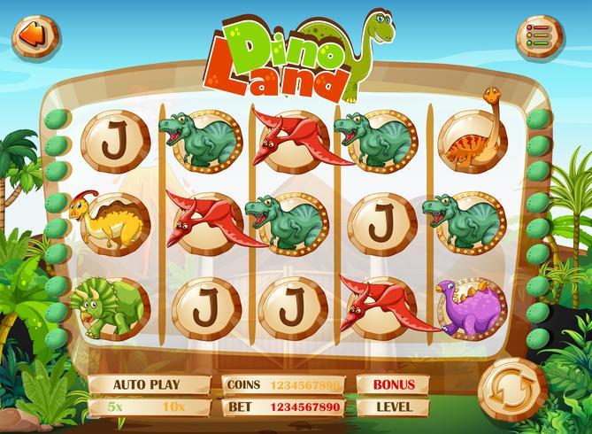Slotenspel sjabloon met dinosaurussen