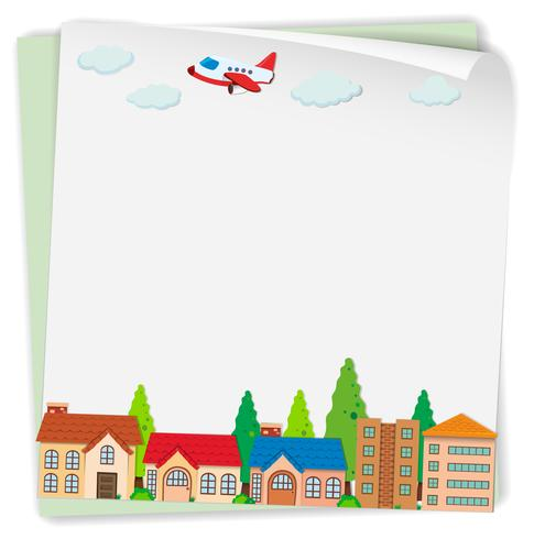 Pappersdesign med flygplan och hus