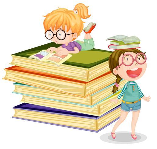 Mädchen mit Büchern auf weißem Hintergrund