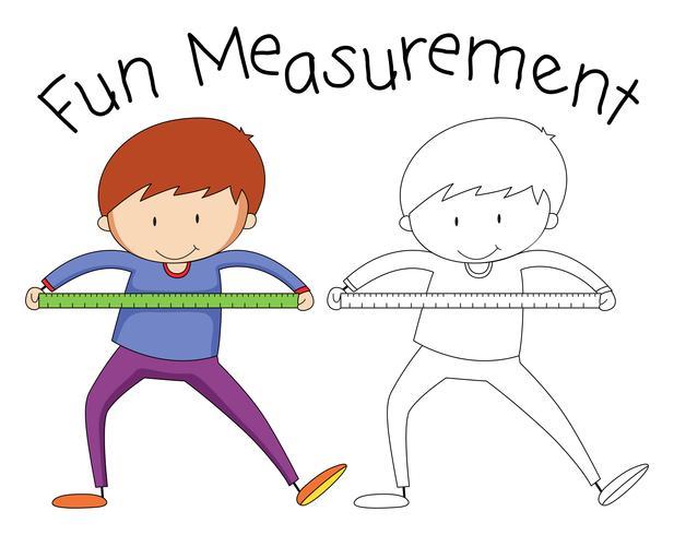 Doodle boy holding measurement tool