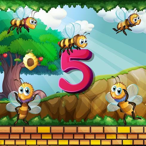 Número cinco con 5 abejas volando en el jardín.