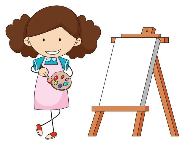Doodle artiste fille peignant vecteur