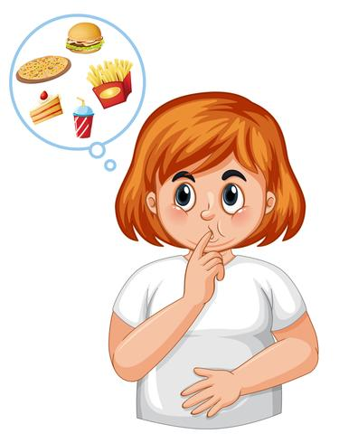 Diabetic girl feel hungry vector