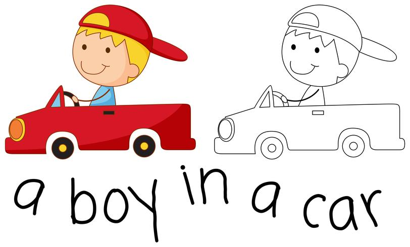 Doodle garoto feliz, montando um carro
