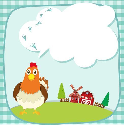 Bordure design avec du poulet à la ferme