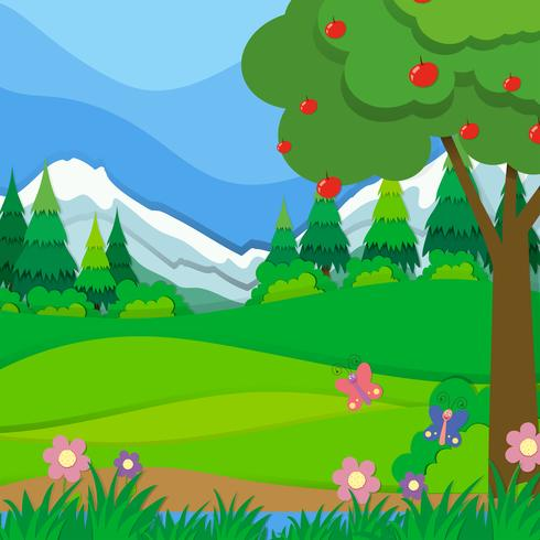 Nature scene with apple tree and field