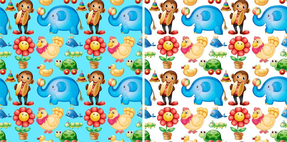 Seamless background with many toys