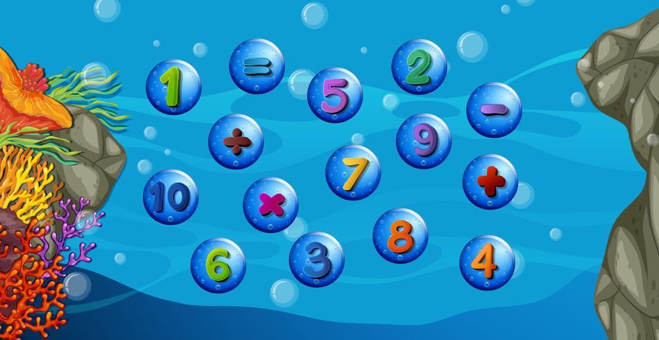 Contando números com fundo subaquático