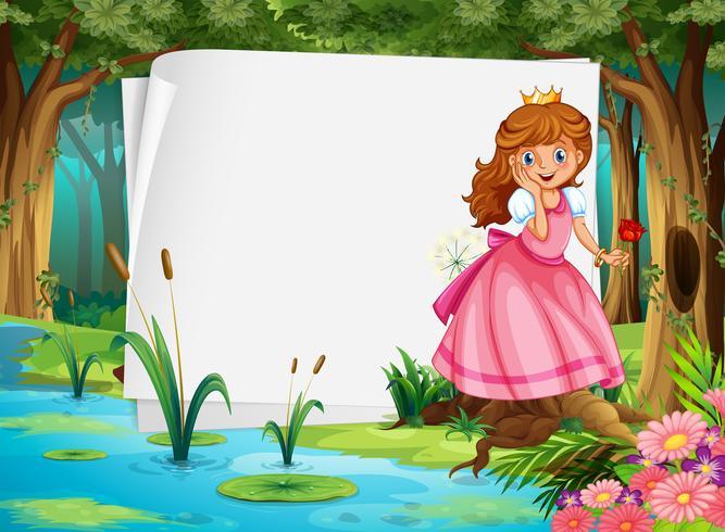 Diseño de papel con princesa en el bosque.