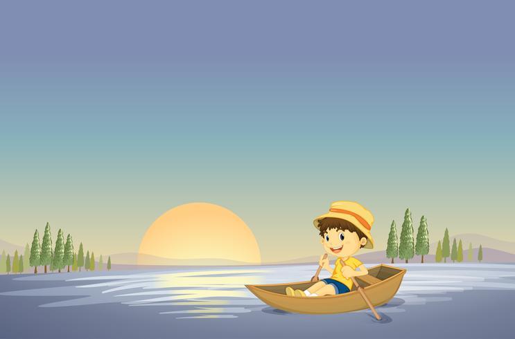 um menino e um barco