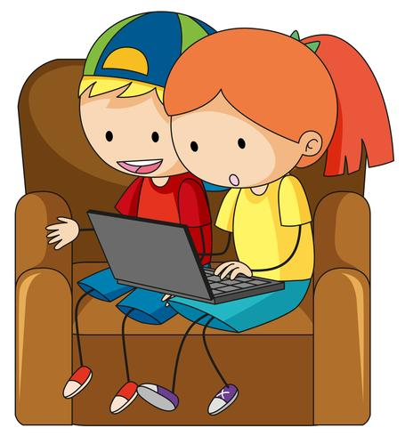 Doodle children playing computer
