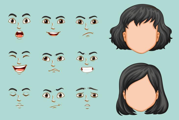 Femme sans visage avec jeu d'expressions différentes vecteur