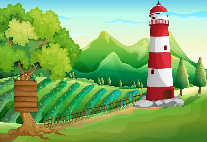 Scene with lighthouse and farmyard