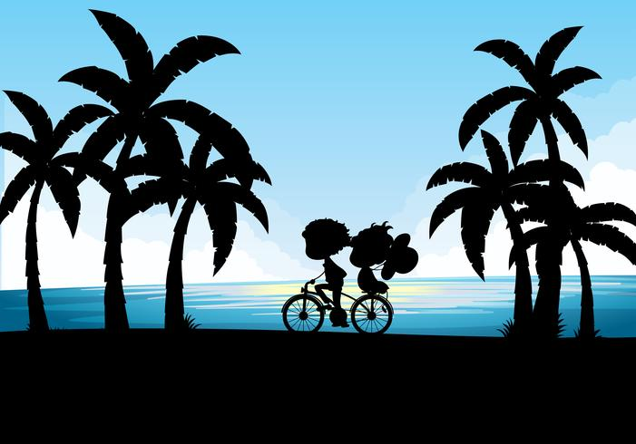 Silhouette of man and woman cycling