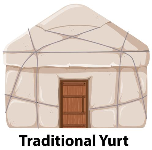 Traditional yurt house on white background
