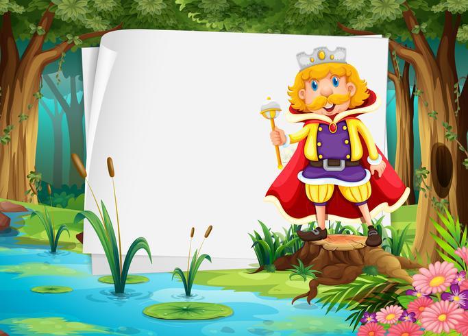 Diseño de papel con rey en selva.