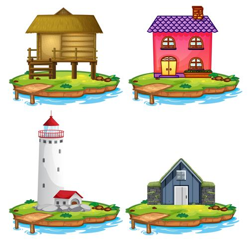 Set of different house on island