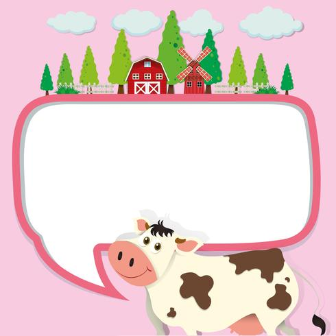 Progettazione del confine con mucca e fattoria