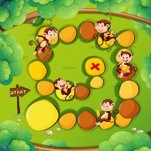 Modello di gioco con le scimmie nella foresta