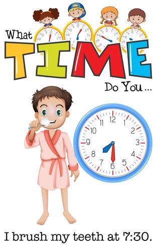 Un niño se cepilla los dientes a las 7:30.