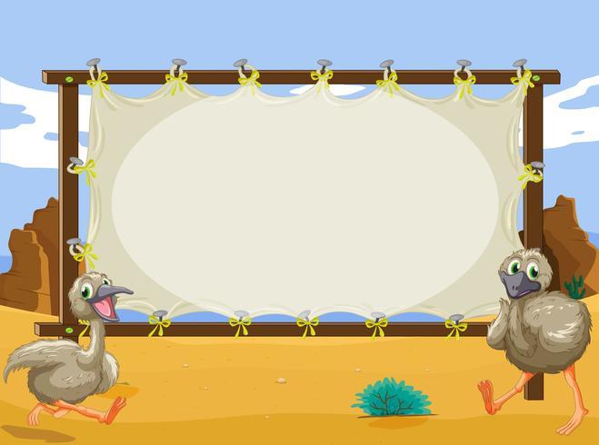 Dessin du cadre avec deux autruches