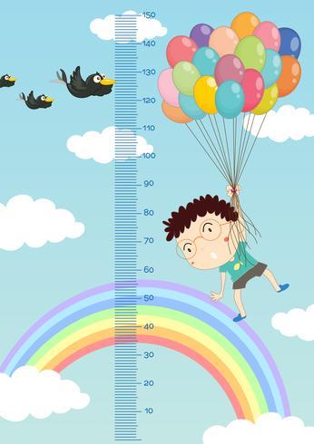 Gráfico de medição de altura com menino voando balões no fundo do céu