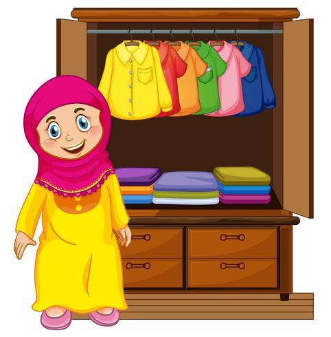 Um, muçulmano, menina, frente, closet