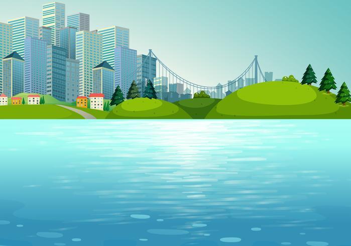 Scène avec bâtiments et rivière