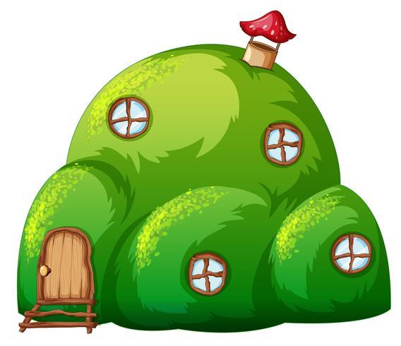 Ein grünes Hügelmärchenhaus