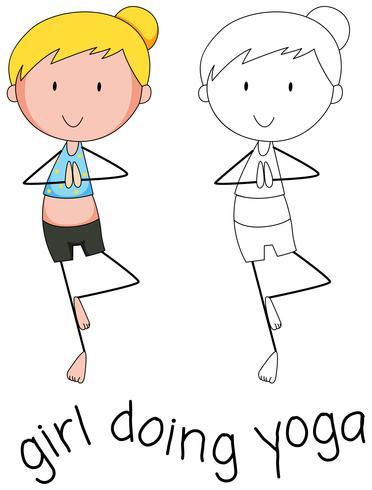 Doodle de garota fazendo yoga