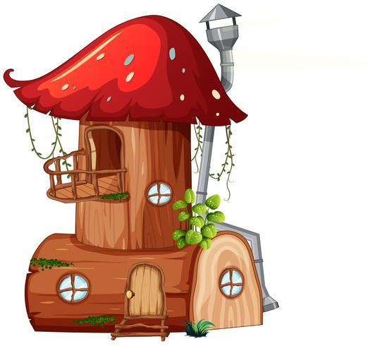 Ein Pilz-Holzhaus