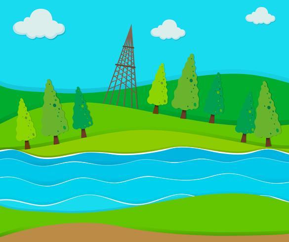 Campo verde pelo rio