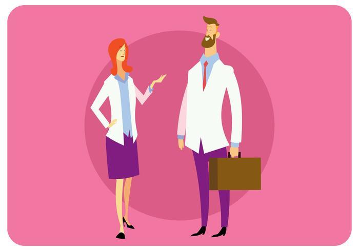 Two Doctors Talking Vector