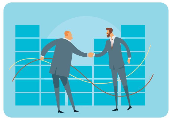 Dois, businessmans, mão, sacudindo, vetorial
