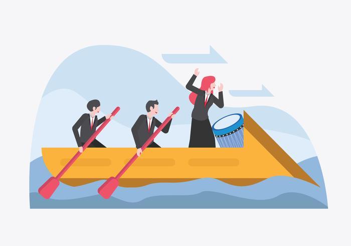 Führer, der Team trägt, um Vektor der Unternehmensziele zu erreichen