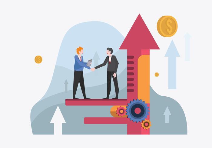 Empresário reunião para ilustração em vetor de metas corporativas