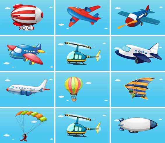 Diferentes tipos de aeronaves