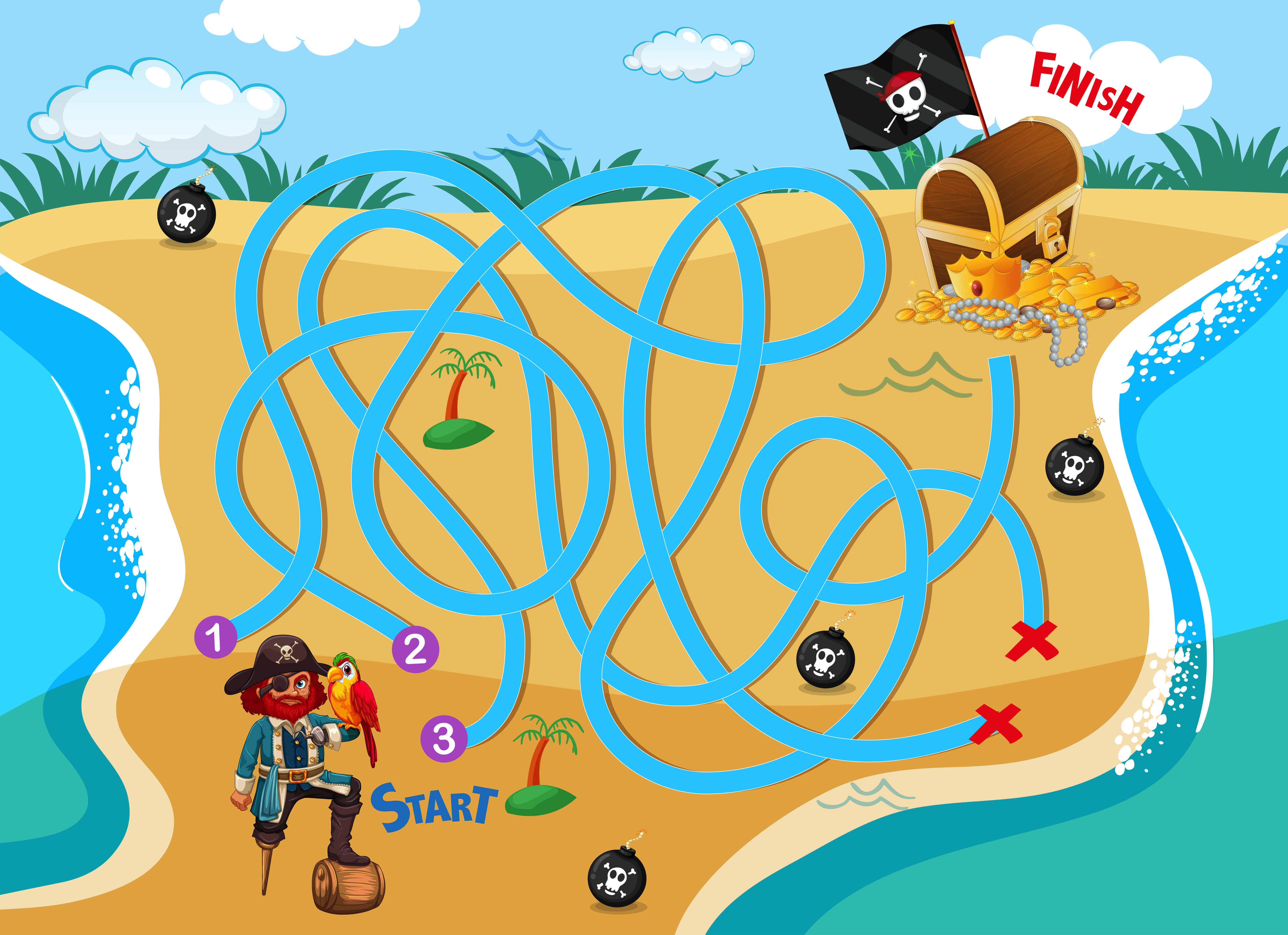 Pirate Beach Maze Puzzle Game Download Free Vector Art Stock