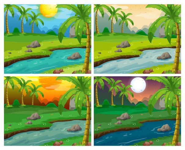 Scene del fiume in quattro diversi momenti