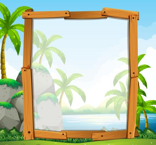 Frame design with river view vector